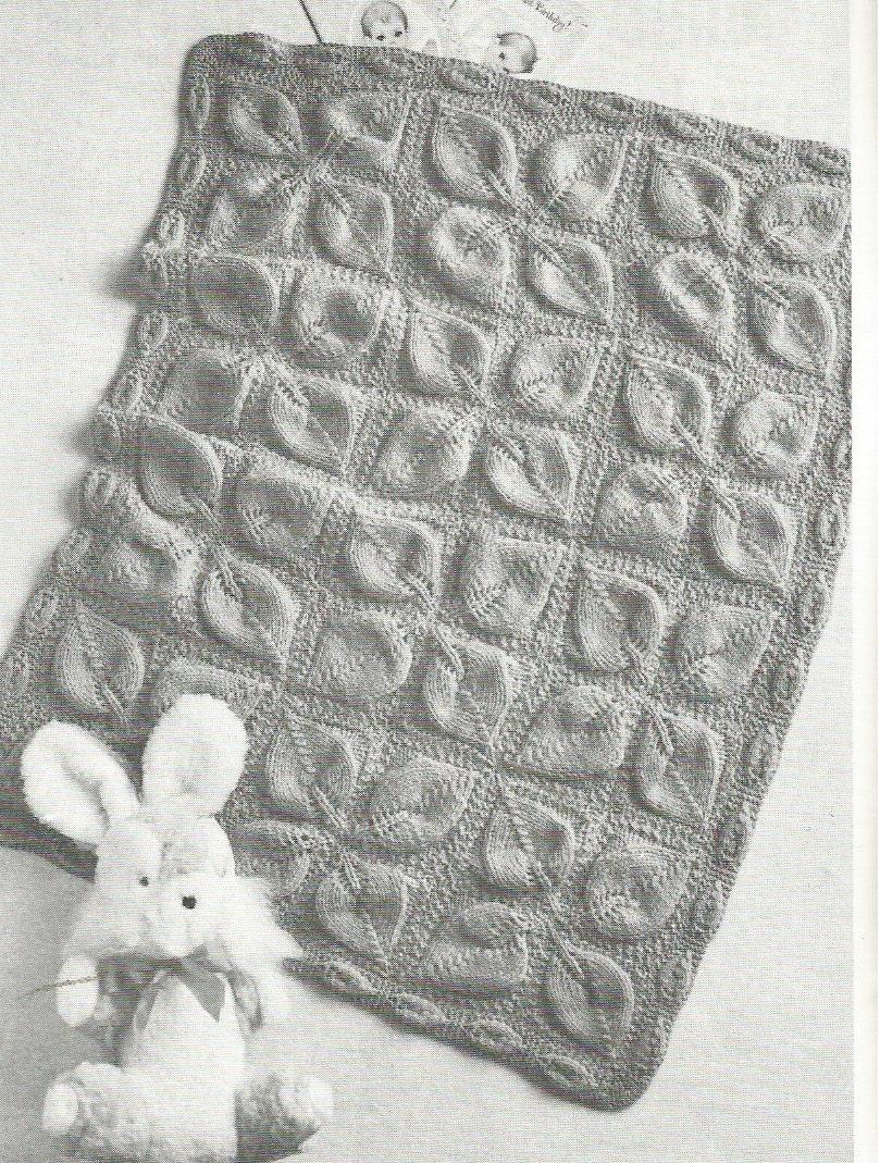 c8680ad43 Vintage Leaf Motif Baby Blanket Pram Cover Knitting PDF