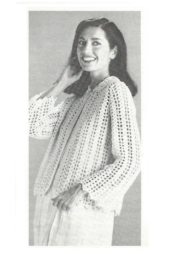 Vintage Ladies Crochet Bed Jacket Cardigan Crochet Pdf Etsy