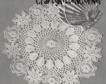 Vintage Irish Crochet Rose and Shell Doily Crochet PDF Pattern
