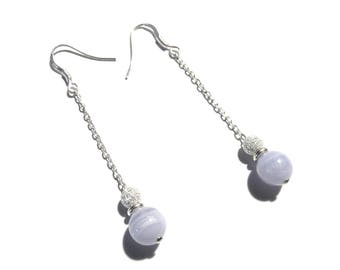 Beautiful chalcedony dangle earrings in Sterling Silver 925