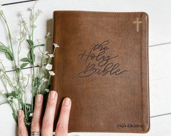 CUSTOM NIV Journaling Bible | Brown | Hand Lettered and Engraved | Personalized Gift | Customizable | Baptism | Wedding | Birthday