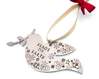 Peace Dove Christmas Tree Ornament   Hand Stamped Ornament   Peace On Earth   Christmas Decoration   Holiday Decoration   Host Gift