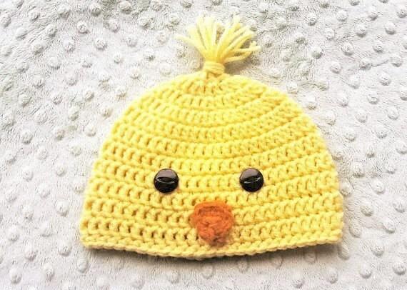Bonnet en Crochet bébé poussin jaune poussin chapeau chapeau   Etsy b31bfea73ae