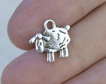 New Fun SHEEP Wildlife Farm Livestock LAMB Silver Alloy Charm on 14G Surgical Stainless Steel Beally Ring Barbell