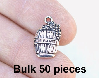 BULK 20 Cheers sparkling wine glasses charms antique silver tone FD69