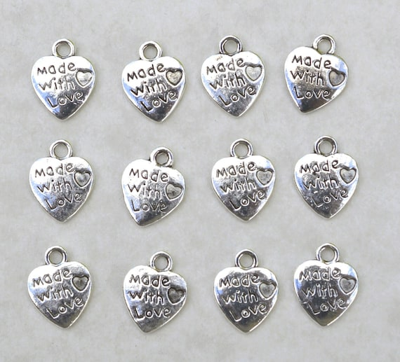 BULK 50 Heart and cross charms antique silver tone C67