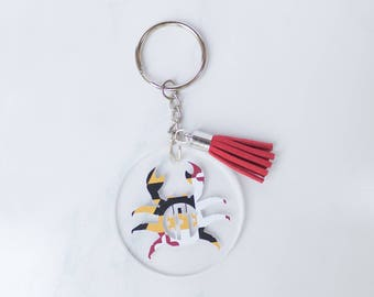 Maryland Crab Monogram Keychain    Crab Keychain    MD Keychain    Monogram Keychain