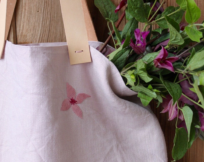 Embroidered linen bag