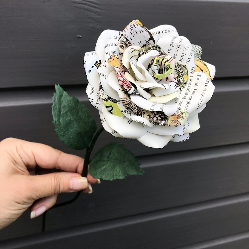 Paper rose single stem made of pages from 'Winnie the image 0