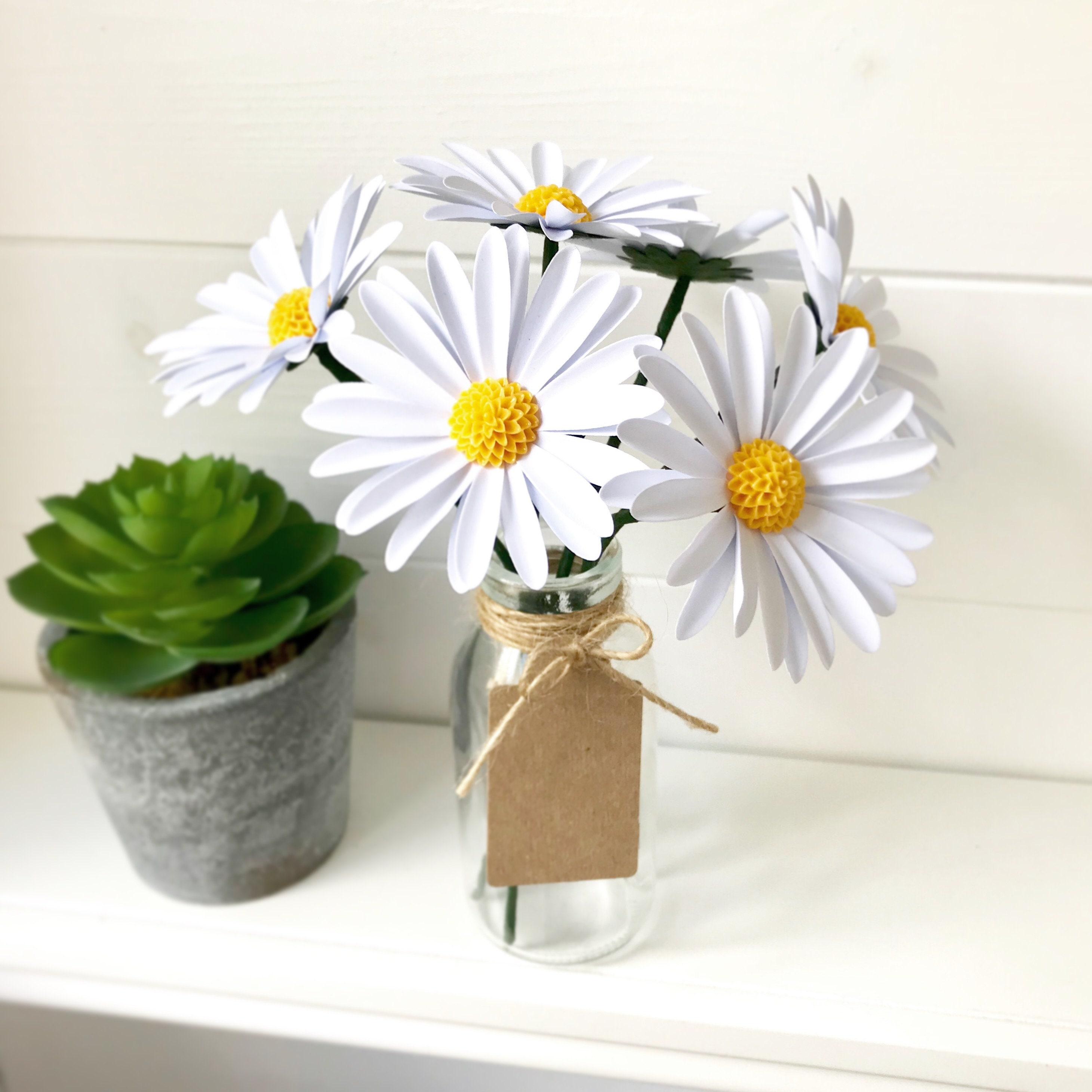 Paper daises 6 x white daisy paper flowers in bottle with etsy zoom izmirmasajfo