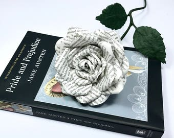 Paper Rose made from book pages from Pride & Prejudice, Jane Austen novel. 1st wedding anniversary, gift idea, birthday, valentine's, love.