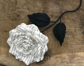 Paper rose made from preloved book. Ready to post, UK, Paper Flowers, gift, weddings, 1st wedding anniversary,  birthday, valentine's, love.