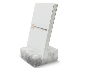 Desk card holder etsy vertical business card holder made from white carrara marble office desk home recycled marble recycled stone colourmoves
