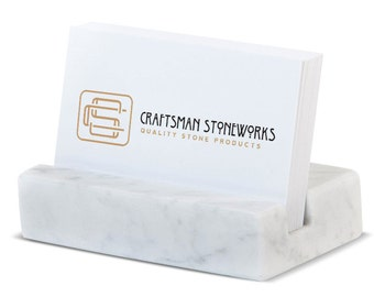 Business Card Holder - White Carrara Marble - Office Desk Home, Recycled Marble, Business Gift
