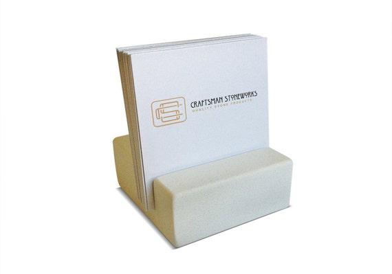 Square business card holder white quartz office desk home colourmoves