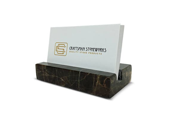 Business Card Holder Emperador Dark Brown Marble Office Etsy