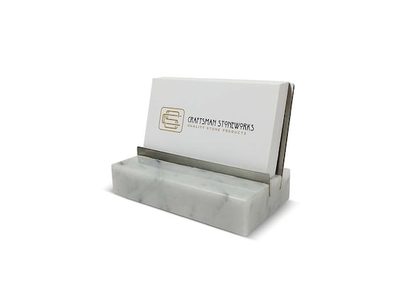 Marble And Stainless Steel Business Card Holder White Etsy