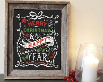 Christmas printable merry christmas and happy new year typography design DIGITAL DOWNLOAD