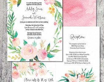 Wedding invitation watercolor wreath floral spring summer pastel DIGITAL FILE printable custom