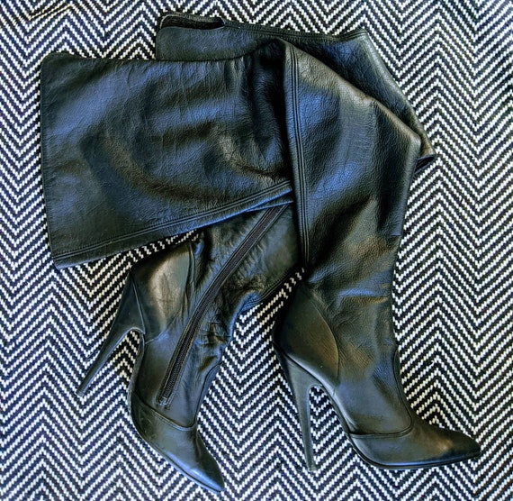 """Vintage black leather thigh high boots 5 1/4"""" heel"""