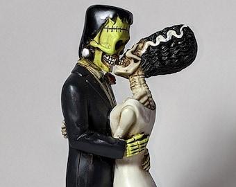 Pins & Bones Frankenstein and Bride Figurine, Hand Detailed Frankenstein Statue, Classic Monsters Collectible