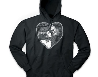 a87027c2b31d Frankenstein and Bride of Kissing Heart Shape Unisex Pullover Hoodie Sweater
