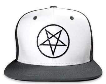 56ee96c64 Pins & Bones Pentagram Snapback Hat, Wool Blend Two Tone, One Size Fits  All, Pentagram Hat, Grey and White
