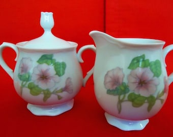 TRELLIS INTERNATIONAL Rhythm ChinaFooted China Creamer and Lidded Sugar Bowl Vintage Made in Japan