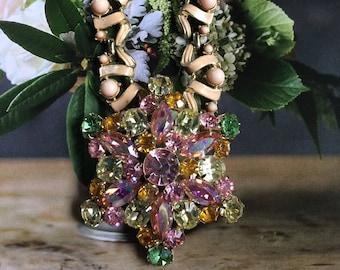 Vintage AB Pink, Peridot, Citrine  Brooch Necklace