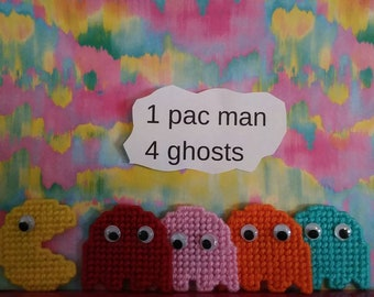 pac-man, ghosts magnets. sold as a set.