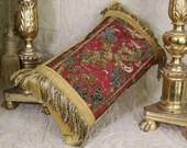 Antique Pillow 18th Century Metallic Embroidery Needlework Flowers Italian Embroidered Silk Cushion
