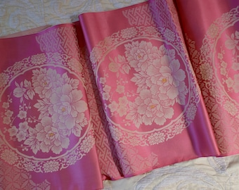 French Lyon Silk  Vintage Fabric Pink Gold