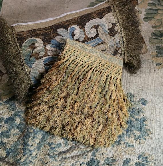 17th Century Florentine Linen Tufted Tassel Fringe  Antique  Hand Made Passementerie Trim