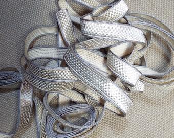 Antique French Silver Metallic Vestment Passementerie Trim Unused