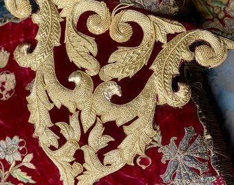Gold Work Embroidery Spanish Bullion Applique  Baroque Panel