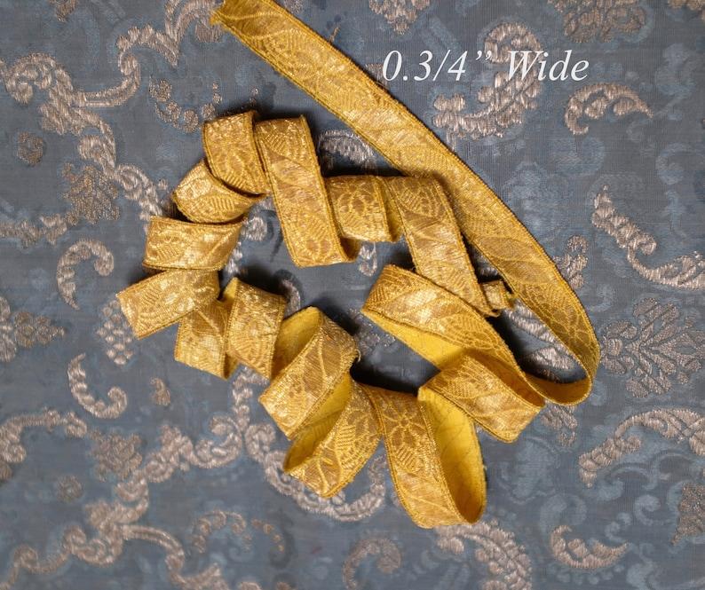 Antique French Trim Gold Metallic Vestment Passementerie Ribbon  Galon