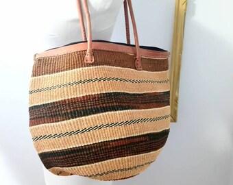 Striped sisal market bag with leather strap /Market/tote/shoulder bag/jute/sisal/