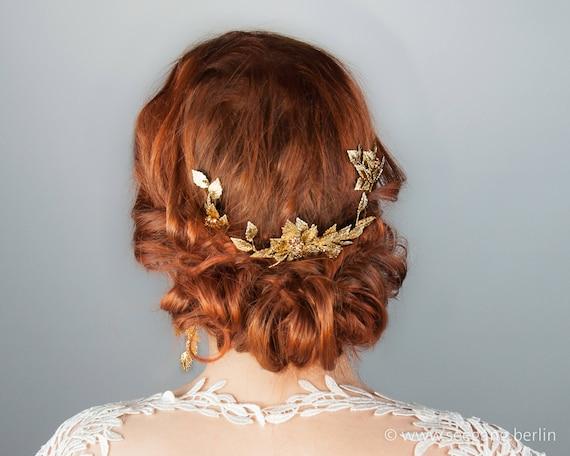 Wedding Bride Hair Comb Gold Tone Headpiece Hair Accessories Vintage Style