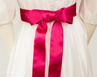 Satin ribbon pink, bright pink belt, sash in the colour magenta. Many shades, perfect tones, for girls and women's dresses. Trending colors.
