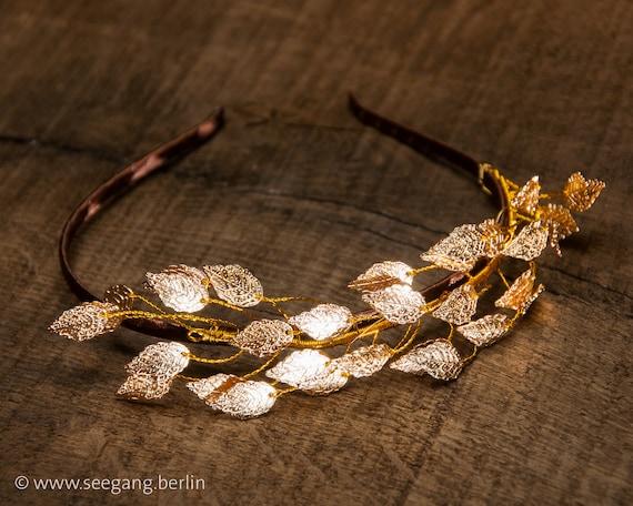 Romantischer Haarreif | Goldene Blätterkrone