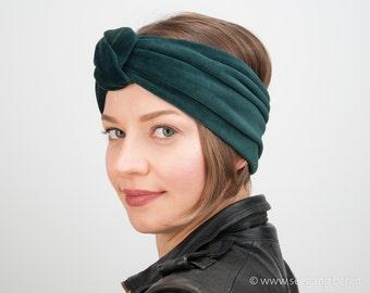 Turban Headband, Dark Green Head Wrap, Velvet Hair Band, elegant, Gift for Her, Green Hair Band, Velvet Headdress, cuddly cotton velvet band