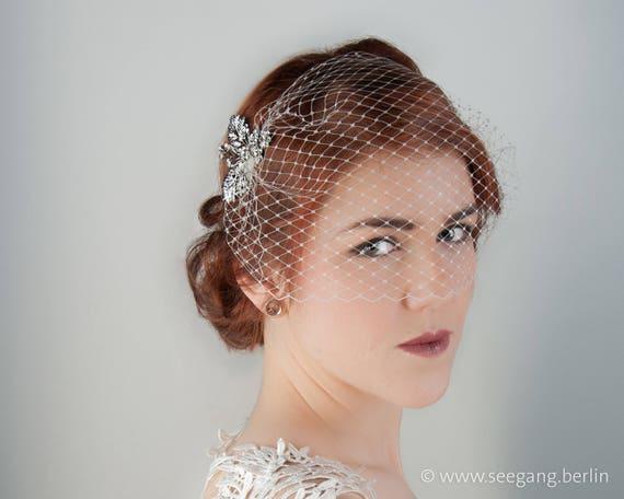 Braut Schleier Vintage Hochzeit Haarschmuck Silber Etsy
