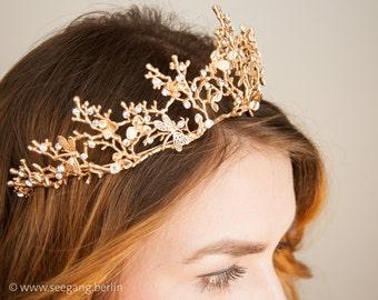 Tiara, Bridal, Vintage, Wedding, Diadem, Color Gold, Princess, Crown, bridesmaid, Boho, cute, Dragonfly, Queen, Dream, Fairy, Diadem, Bride