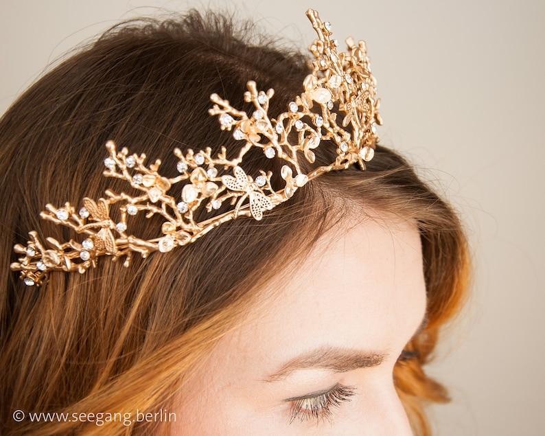 Tiara Bridal Vintage Wedding Diadem Color Gold Princess image 0