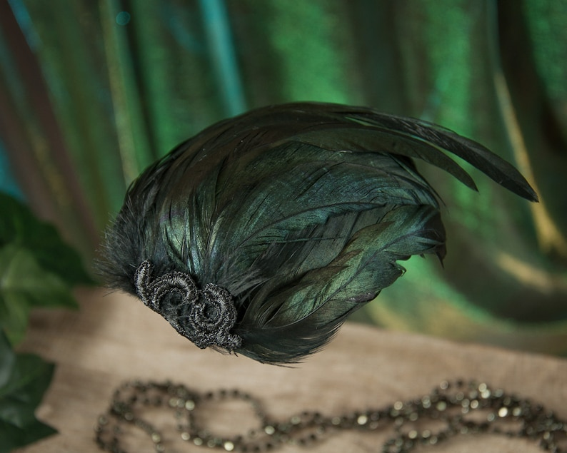 Gothic Fascinator Black Hair Accessories Vintage Headdress Fascinator Black Feathers Burlesque Gift for Girlfriend Rooster Feathers