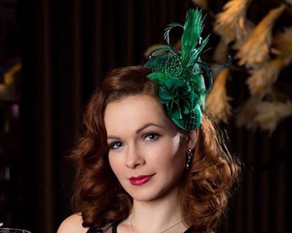 Green Fascinator Vintage Style Headdress Dark Green  297e5e2804d