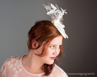 Wedding Fascinator Doves, Bridal Headdress creme, Vintage Stil Hairpiece, Champagne Veil Fascinator, cream, off white, ivory, hairstyle