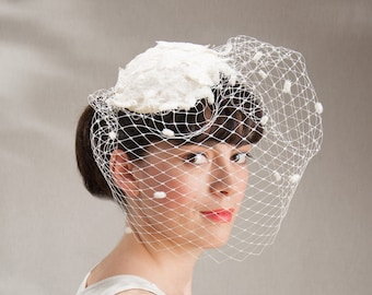 Birdcage Wedding Headdress, White Wedding Hat, Lace Veiling Headpiece, Vintage Bride Hairstyle, Boho Hairaccessories, short hair hairstyles