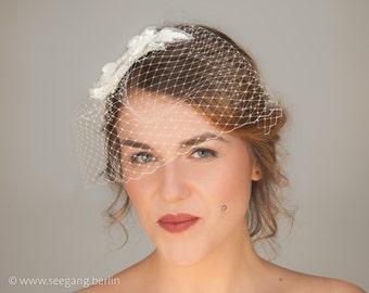 Bridal Fascinator, Bridal Headpiece, Bridal veil, Bridal veiling, lace headdress, vintage Bride, bridesmaid, Wedding Headpiece, White Veil