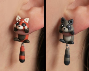acdf5bd63 Animal earrings: Red Panda or Raccoon. Select one single earring or a  set/pair (2 in 'quantity'). Animal earrings made of polymer clay.